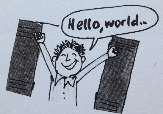Karikatur Hello world